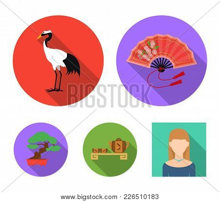 Fan, Red Crown Crane, Tea Ceremony, Bonsai.japan Set Collection Icons In Flat Style Vector Symbol St