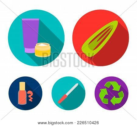 Hair Clip, Nail File, Body Cream, Nail Polish.makeup Set Collection Icons In Flat Style Vector Symbo