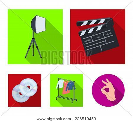 Movies, Discs And Other Equipment For The Cinema. Making Movies Set Collection Icons In Flat Style V