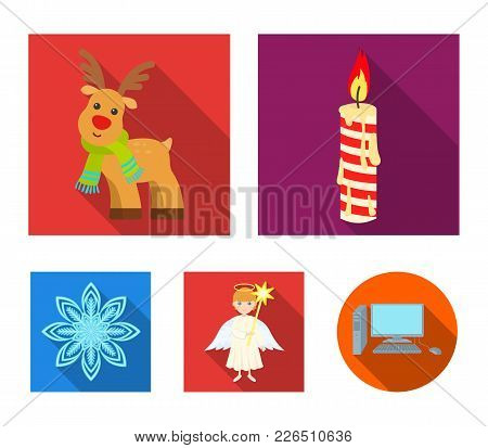 Christmas Candle, Deer, Angel And Snowflake Flat Icons In Set Collection For Design. Christmas Vecto
