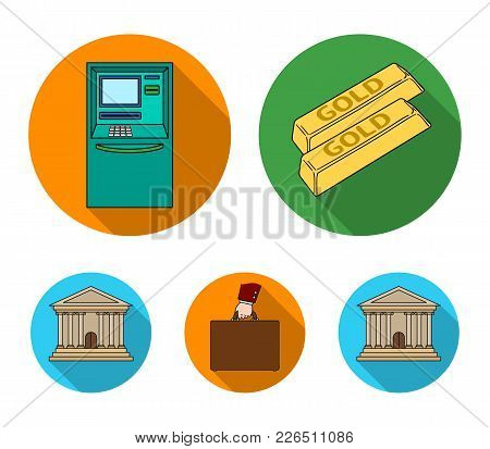 Gold Bars, Atm, Bank Building, A Case With Money. Money And Finance Set Collection Icons In Flat Sty