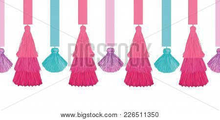 Vector Elegant Colorful Decorative Tassels And Ribbons Set Horizontal Seamless Repeat Border Pattern