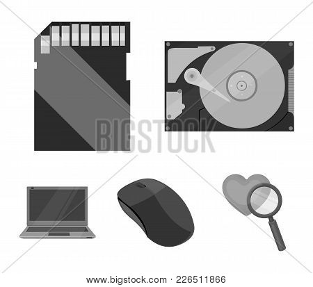 Computer Mouse, Laptop And Other Equipment. Personal Computervset Collection Icons In Monochrome Sty