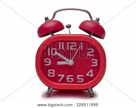 Red Alarm Clock Isolated On White Background. (clipping Path)