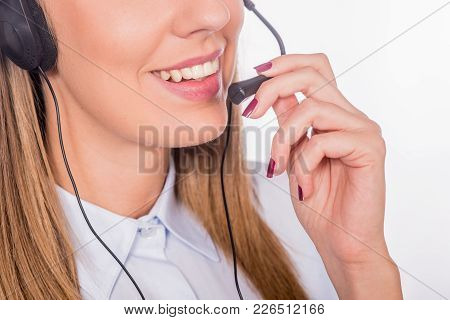 Beautiful Young Call-center Assistant Smiling, Woman Customer Service Worker, Call Center Smiling Op