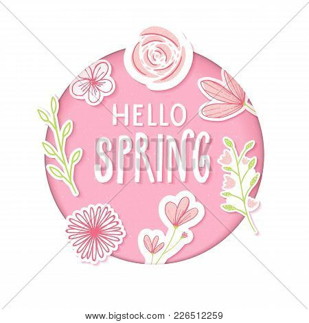 Hello Spring Text In Pastel Pink Paper Clip Art With Flowers And Hand Drawn Branches