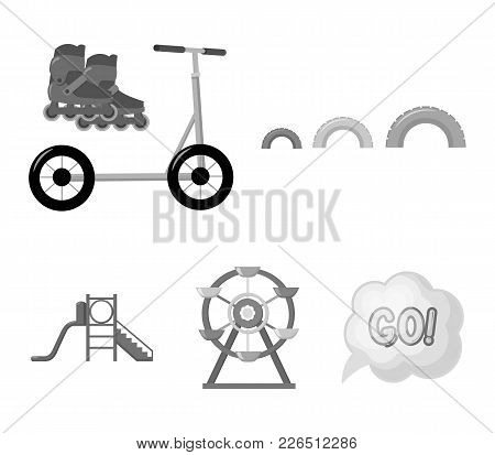 Ferris Wheel With Ladder, Scooter. Playground Set Collection Icons In Monochrome Style Vector Symbol