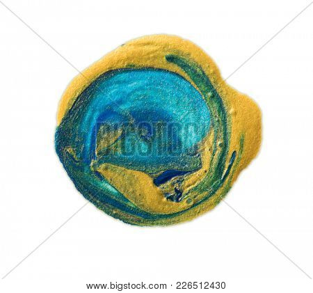 Earth like Turquoise blue and gold orb or sphere like painting or icon.Isolated on white.