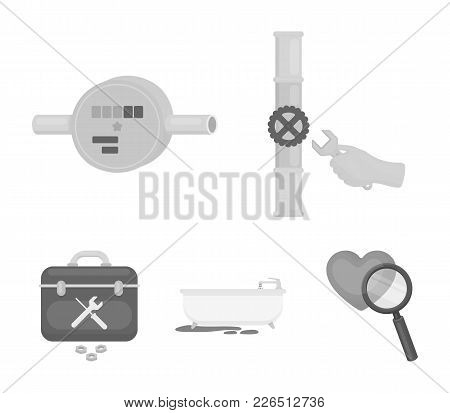 Water Meter, Bath And Other Equipment.plumbing Set Collection Icons In Monochrome Style Vector Symbo