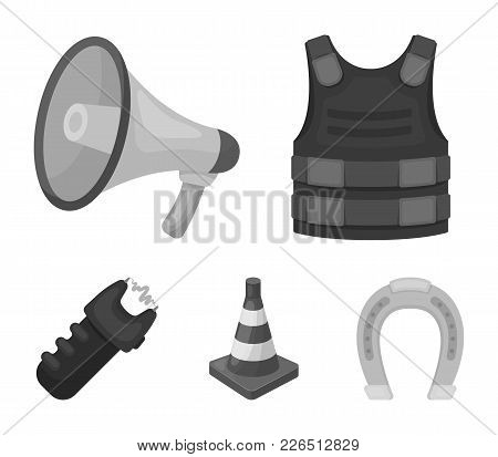 Bulletproof Vest, Megaphone, Cone Of Fencing, Electric Shock. Police Set Collection Icons In Monochr