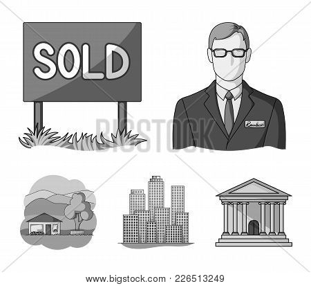 Employee Of The Agency, Sold, Metropolis, Country House. Realtor Set Collection Icons In Monochrome
