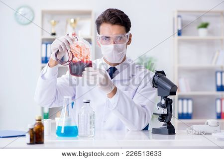Doctor working with blood samples in hospital clinic lab