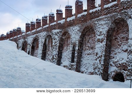 The Part Of Fortress Wall In Winter. Part Of The Smolensk Fortress Wall In The Middle Of The Snow. I