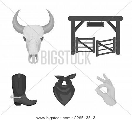 Gates, A Bull's Skull, A Scarf Around His Neck, Boots With Spurs. Rodeo Set Collection Icons In Mono