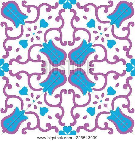 Ornamental Pattern Vector Seamless Violet And Blue Color. Tile Pattern - Azulejo, Portuguese Tiles,