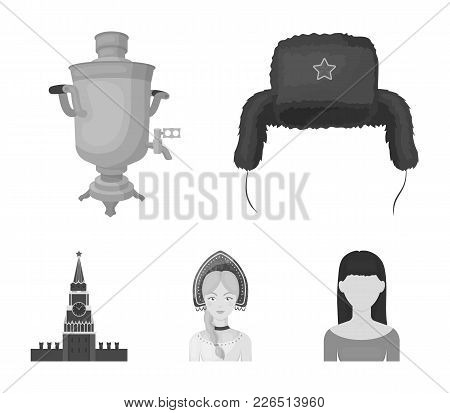 Clothes, Woman, Kremlin, Building .russia Country Set Collection Icons In Monochrome Style Vector Sy