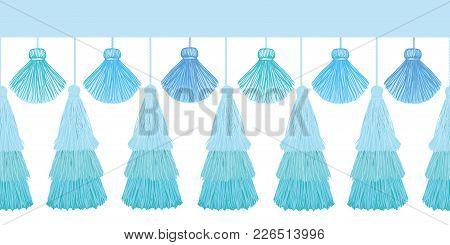 Vector Elegant Blue Layered Decorative Tassels Set Horizontal Seamless Repeat Border Pattern. Great