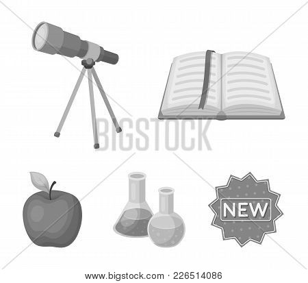 An Open Book With A Bookmark, A Telescope, Flasks With Reagents, A Red Apple. Schools And Education