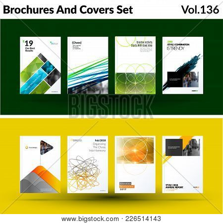 Mega Set Of Abstract Templates For Business, Trendy Green Yellow Triangles, Geometric Shapes, Design