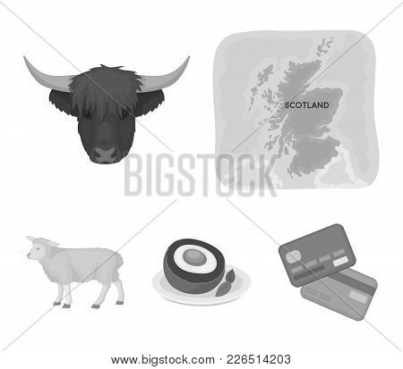 Territory On The Map, Bull's Head, Cow, Eggs. Scotland Country Set Collection Icons In Monochrome St