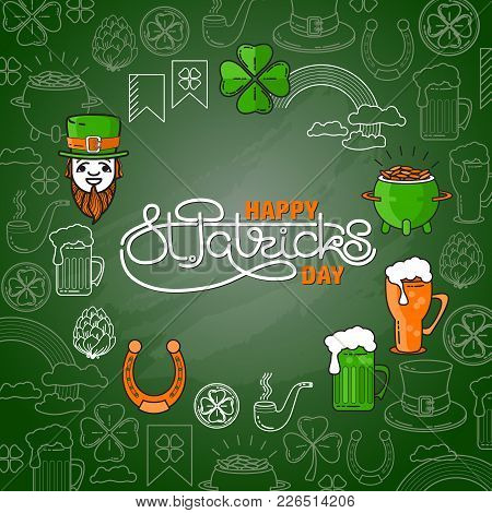 Vector Set Of St. Patricks Day Icon On Green Background.