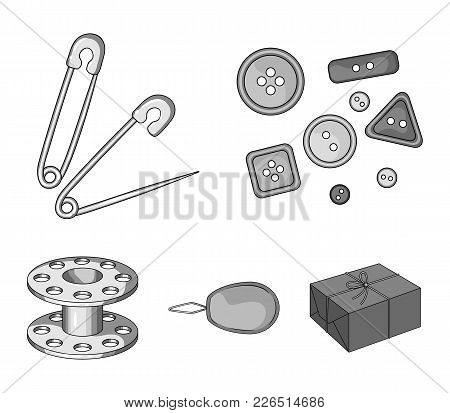 Buttons, Pins, Coil And Thread.sewing Or Tailoring Tools Set Collection Icons In Monochrome Style Ve