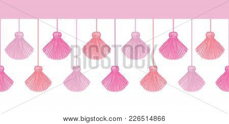 Vector Elegant Pink Decorative Tassels Set Horizontal Seamless Repeat Border Pattern. Great For Hand