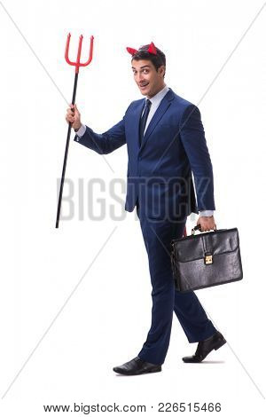 Evil devil businessman with pitchfork isolated on white backgrou