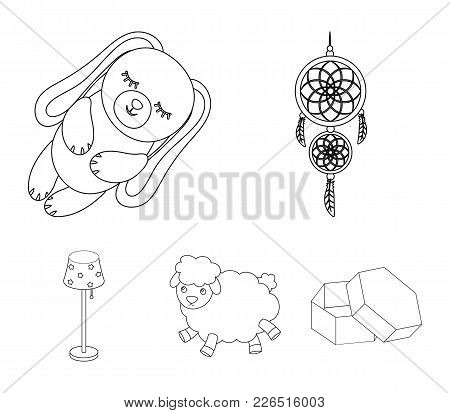 Dream Catcher, Soft Toy Sheep And Rabbit, Floor Lamp. Rest And Sleep Set Collection Icons In Outline