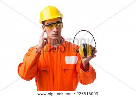 Construction worker with noise cancelling earphones