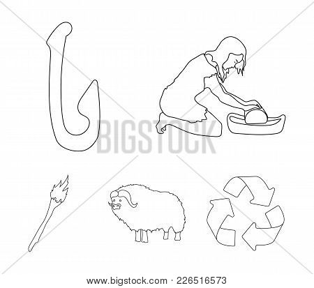 Cattle, Catch, Hook, Fishing .stone Age Set Collection Icons In Outline Style Vector Symbol Stock Il