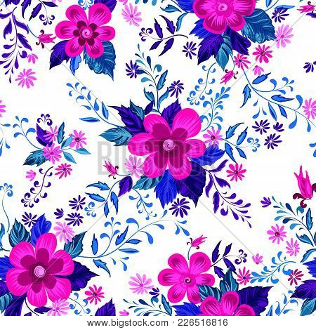 Floral Seamless Pattern. Abstract Ornamental Flowers. Flourish Decor