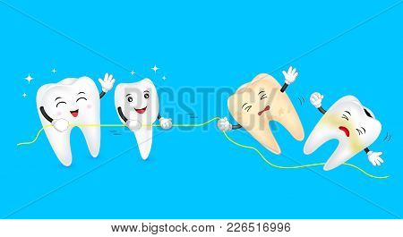 Healthy And Unhealthy Teeth In The Tug Of War. Cute Cartoon Tooth Characters. Dental Care Concept, I