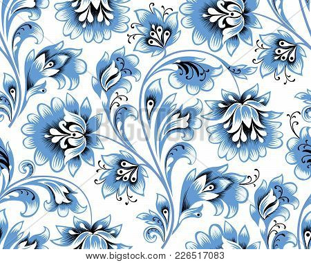 Floral Seamless Pattern. Flower Background. Ornamental Russian Ethic Style