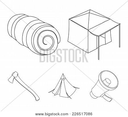 Tent With Awning, Ax And Other Accessories.tent Set Collection Icons In Outline Style Vector Symbol