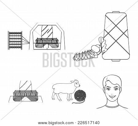 Cotton, Coil, Thread, Pest, And Other  Icon In Outline Style. Textiles, Industry, Gear Icons In Set