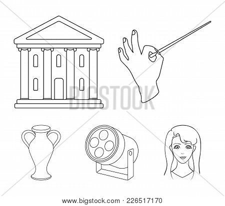 Conductor's Baton, Theater Building, Searchlight, Amphora.theatre Set Collection Icons In Outline St