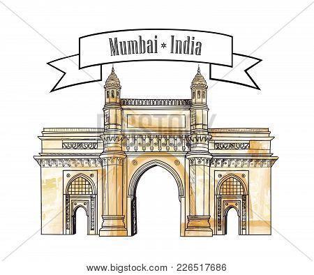 Mumbai City Gate Way Icon, India. Famous Indian Maharashtra Landmark. Travel India Background