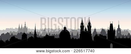 Prague City, Chezh. Urban Skyline With Cathedral Landmark Buildings Silhouette. Travel Prague Backgr