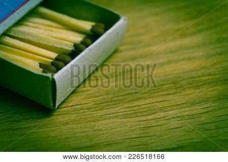 The Open Boxes Of Matches Are Photographed Close-up.
