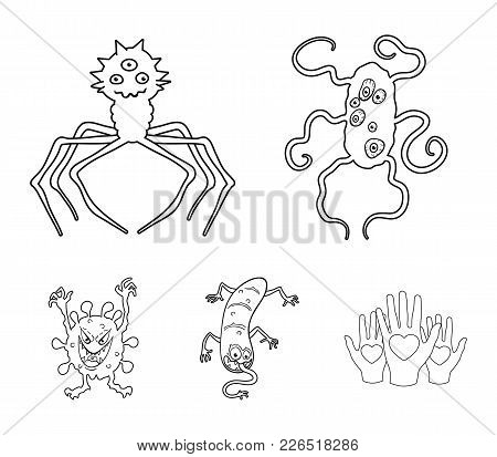 Different Types Of Microbes And Viruses. Viruses And Bacteria Set Collection Icons In Outline Style