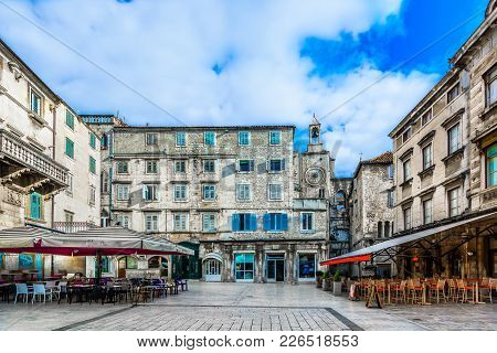 Scenic View At Old Historical Roman Square In City Center Of Town Split, Croatia.