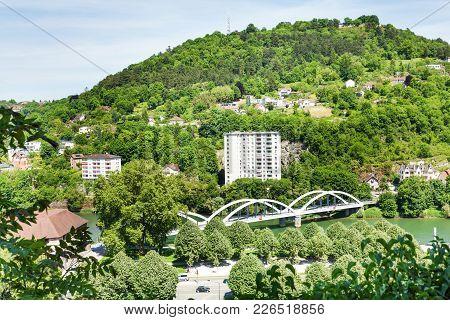 Beautiful Landscape Of Besancon With Unbraced Tied-arch Chardonnet Bridge Across The Doubs River At