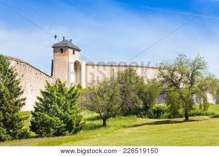 Tower And Defensive Wall Of The Citadel, The Leading Tourist Attraction In Besancon, France