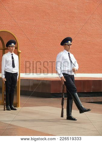 Moscow, Russia - August 1: Unidentified Guards Take Part In Changing Of The Guards Ceremony At The T