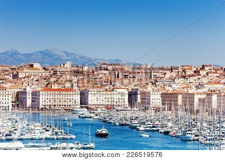 Panoramic View Of The Old Port And Marseille Coastline In Summer, France