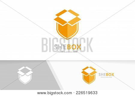 Vector Box And Shield Logo Combination. Package And Security Symbol Or Icon. Unique Delivery And Gua