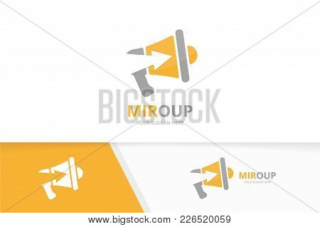 Vector Megaphone And Arrow Up Logo Combination. Bullhorn And Growth Symbol Or Icon. Unique Announcem