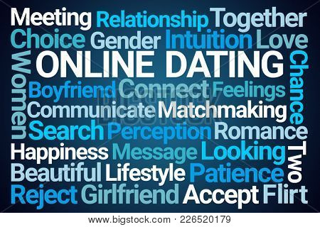 Online Dating Word Cloud on Blue Background