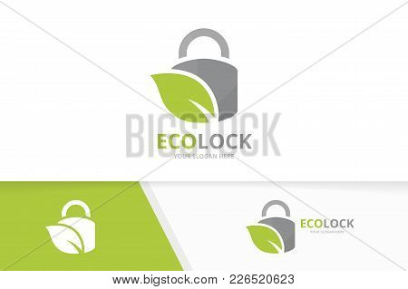 Vector Lock And Leaf Logo Combination. Safe And Eco Symbol Or Icon. Unique Padlock And Organic Logot